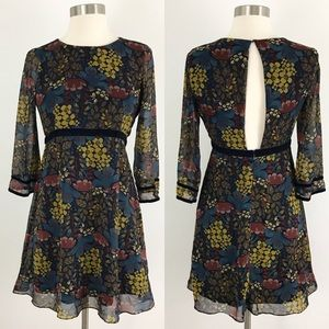 Zara XS Navy Floral Velvet Trim Dress open back